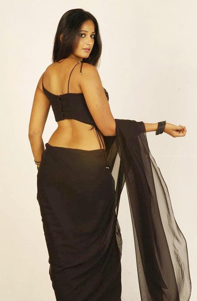 Anushka Shetty Hot In Backless Blouse Photos And Navel -6299