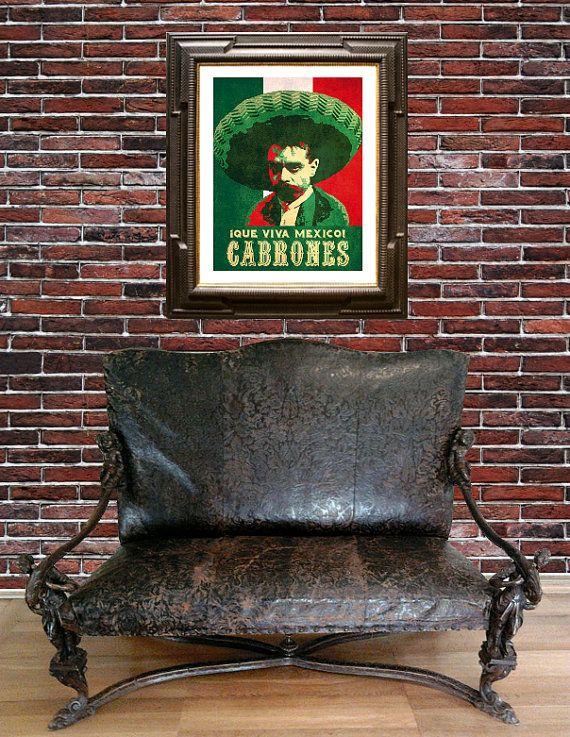 Zapata Viva Mexico Cabrones Poster by EzyTheEasyCat on Etsy