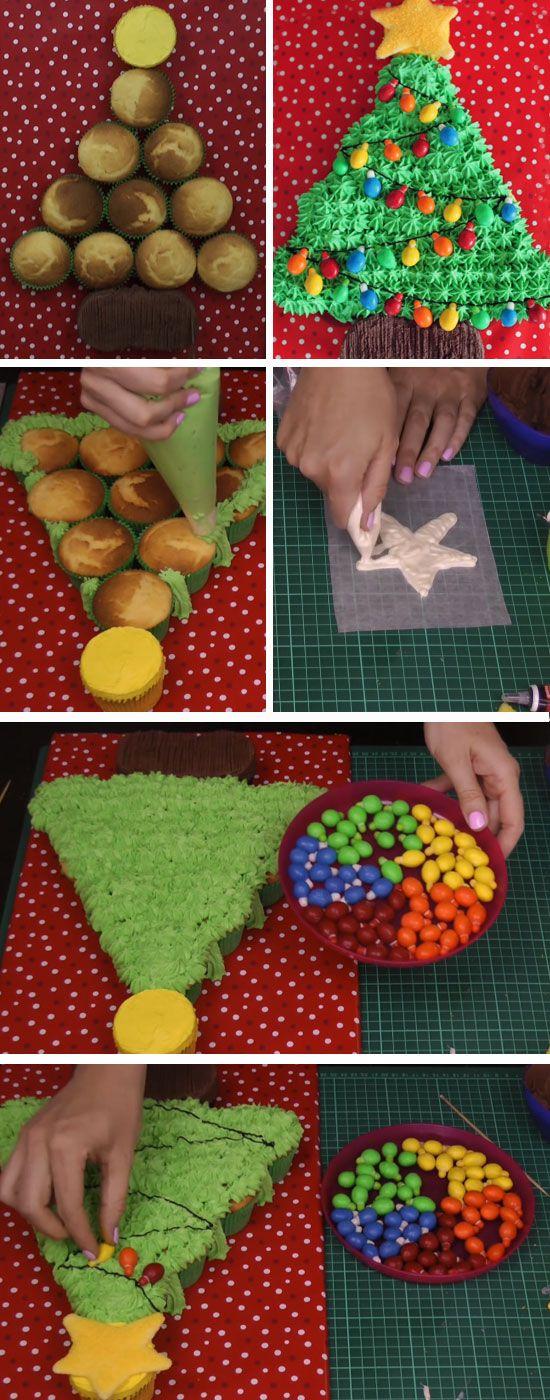 Christmas Tree Pull-Apart Cupcake Cake | DIY Christmas Baking Ideas for Kids Parties
