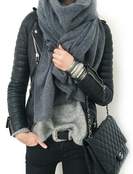 black leather jacket, grey cami, grey scarf, black skinny jeans