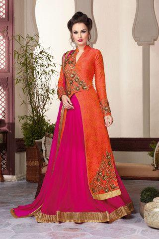 Orange & Pink Art Silk Lehenga Suit