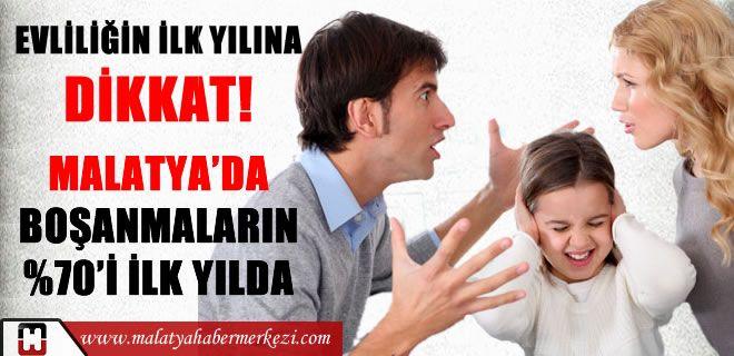 Türkiye'de 2013 yılında boşananların yüzde 79'u evliliklerinin ilk yılı boşandı. Kaynak : malatya haber www.malatyahabermerkezi.com