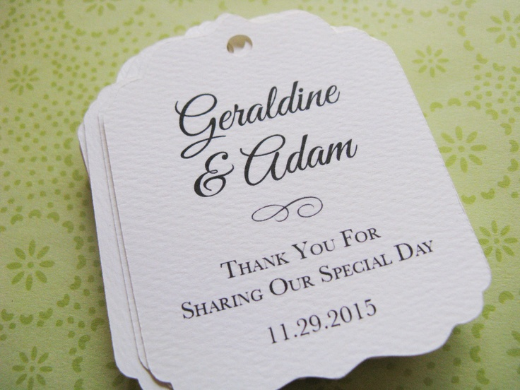Wedding Gift Tag Wording : wedding favor tag personalized gift tags or shower favor tags custom ...