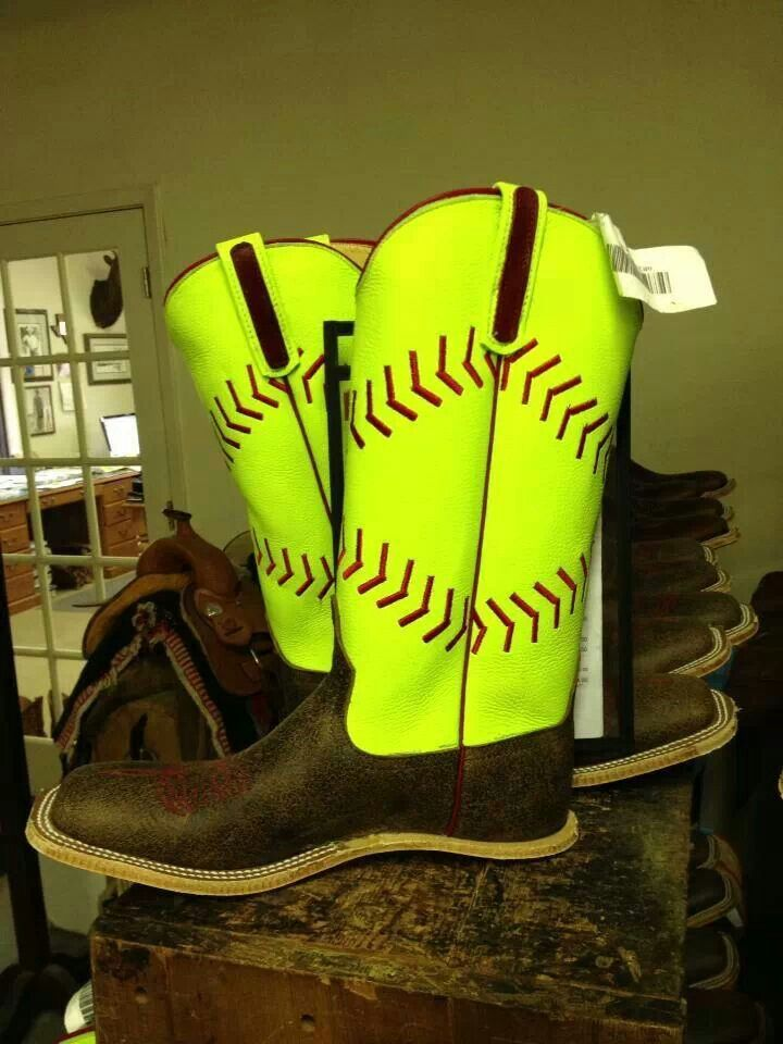 Softball boots that r AMAZING!!!!!!!!!! I need these I would take them to every single softball tournament!!! People might stare but they better get used to it because I'm a country girl too but I love softball!!! I so need these!!