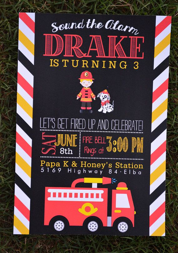 Firetruck party invitation with fireman and dog