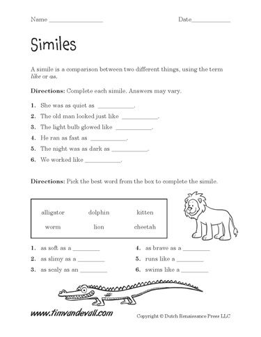 These free printable simile worksheets are like a small gift for teachers. Download one or both of these original simile printables. PDF format.
