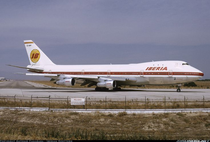 """Boeing 747-156 Iberia EC-BRP """"Lope de Vega"""" taxiing to takeoff at Madrid-Barajas MAD/LEMD on Sep. 17, 1974. Iberia classic paint scheme."""