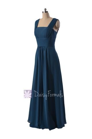 Peacock Blue Chiffon Online Bridesmaid Dress Floor Length Formal Dress W/Square Neck(BM9826) – DaisyFormals-Bridesmaid and Formal Dresses in 59+ Colors