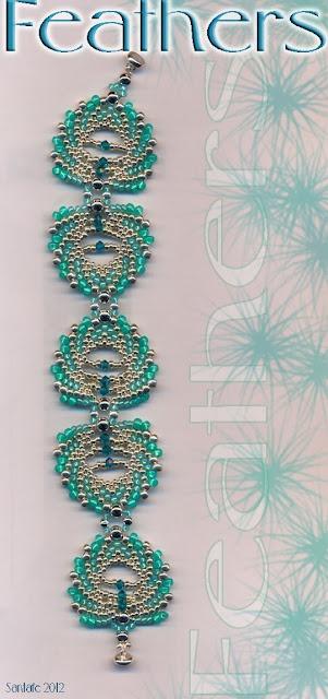 Santafe's Site Jaycee feather bracelet- nice blog with pretty beadwork!