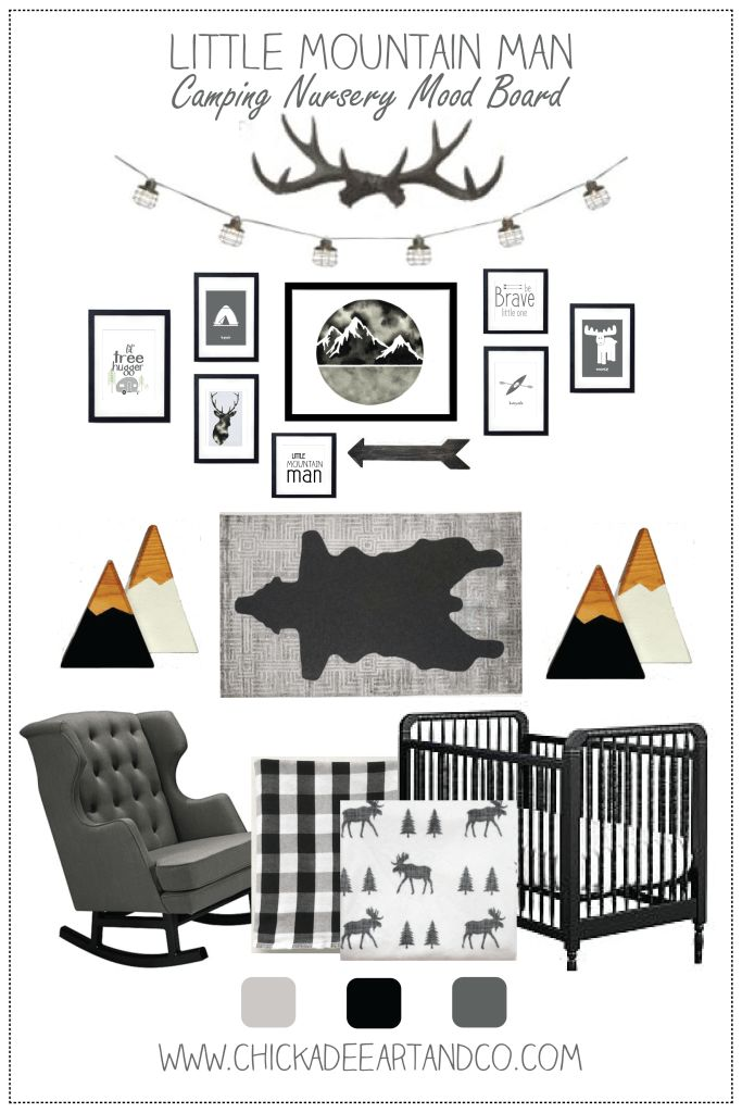 """Little Mountain Man"" Camping Nursery and FREE printable camping nursery wall art from Chickadee Art and Company. Monochrome nursery"