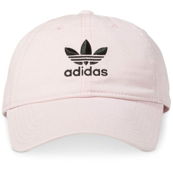 adidas Originals Cotton Relaxed Cap ($24) ❤ liked on Polyvore featuring accessories, hats, clear pink, adidas, pink cap, pink hats, bills hat and cotton hat