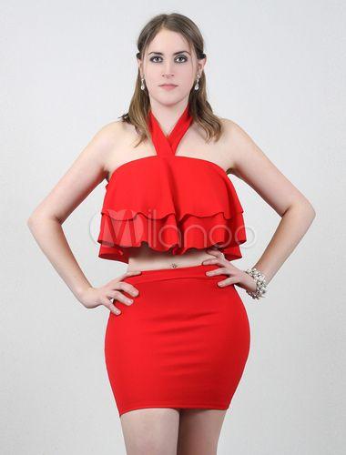 Halter Mini Top rosso in stile spiaggia per donne