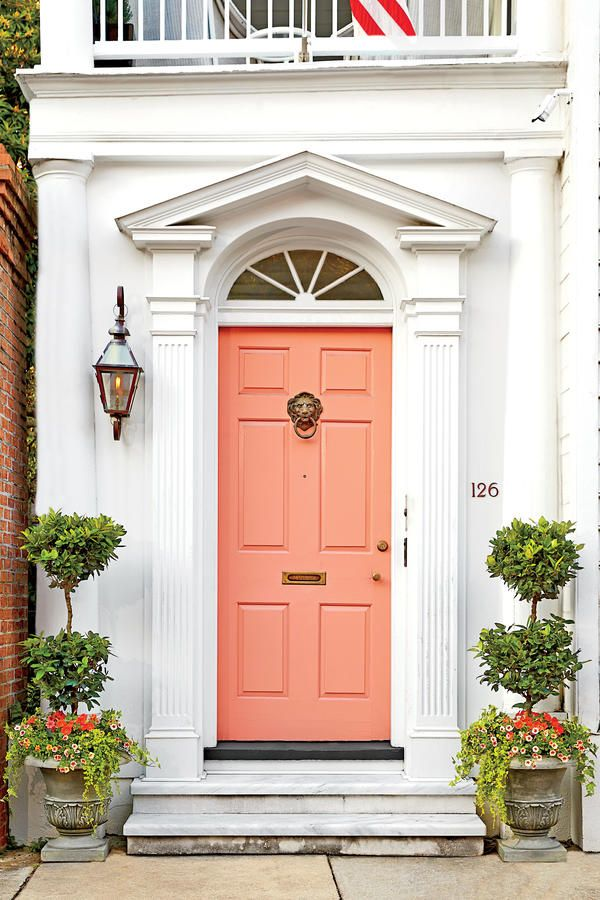 13 Bold Colors for Your Front Door: Charleston Coral Front Door