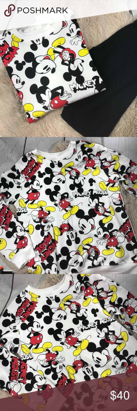 Mickey Mouse Crewneck Pullover Sweater NWOT Disney Mickey Mouse Print White Crewneck Pullover Sweater Lightly fleece lined inside.  Perfect for a Disneyland trip   Size: Large  Condition: New without Tags. No Flaws Disney Sweaters Crew & Scoop Necks