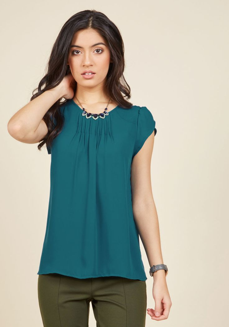Charmer in Charge Top in Teal. With your air of confidence and this blue-green blouse, youll engage your employees with awesome aplomb. #blue #modcloth