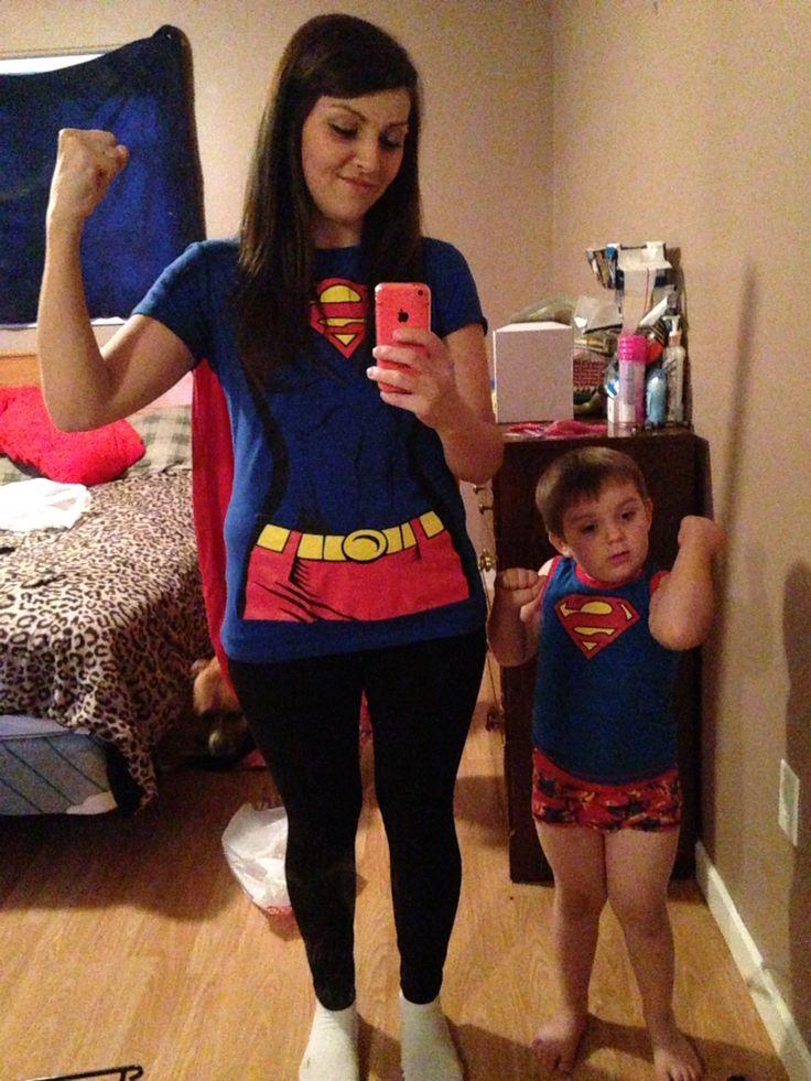 Mother and son superhero super mom halloween costume