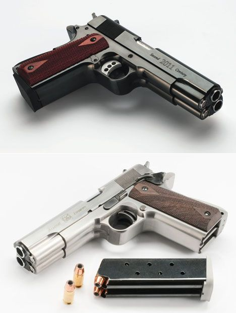 "AF2011-A1 Double Barrel Pistol, designed to ""commemorate the legendary Colt 1911-A1,"" the .45 that turned 100 last year."