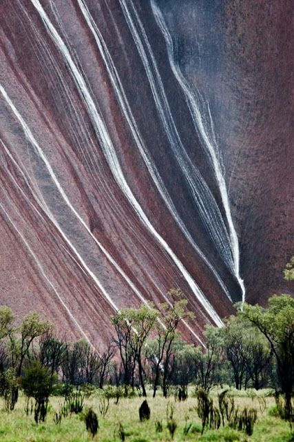 Uluru (also known as Ayers Rock) Australia -- For local photographer Peter Carroll, it was a 20 year wait to capture rain on the rock.