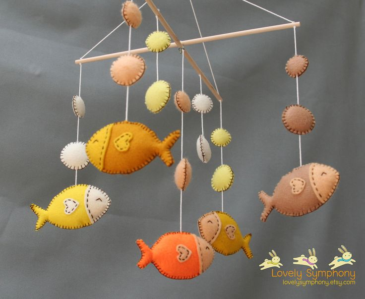 Tropical fishes baby mobile - golden fishes hanging mobile. $75.00, via Etsy.