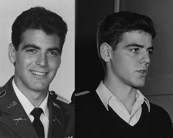 George Clooney (1986) & his father, Nick Clooney (1954)