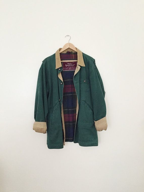 forest green utility / worker canvas jacket with corduroy collar and plaid lining