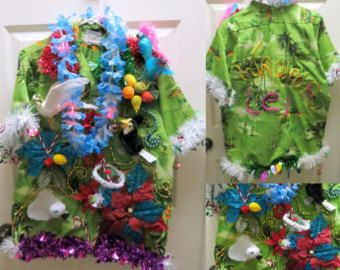Tropical Tacky Ugly Christmas Sweater Party Hawaiian Shirt light up Lei, Seagull, Birds, Funny Shirt Mens womens  Sz Large, Party Shirt