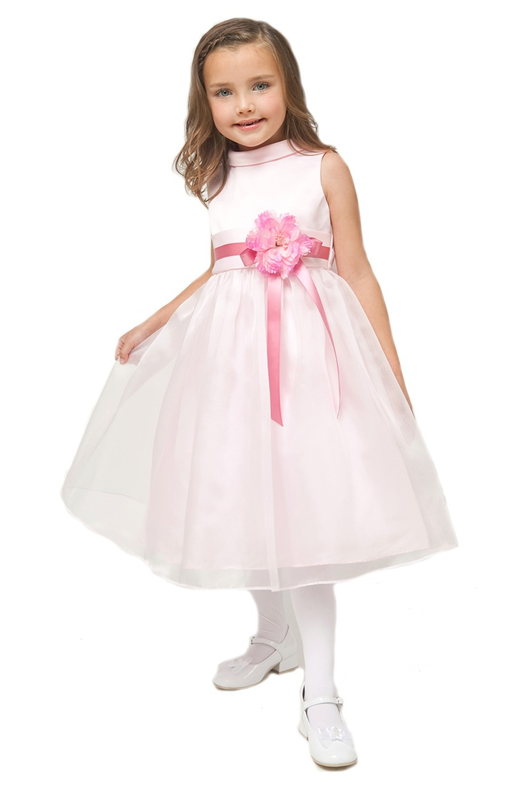 35 best girls pale pink dresses images on pinterest junior pale pink sleeveless satin organza girl dress with flower ombrellifo Images