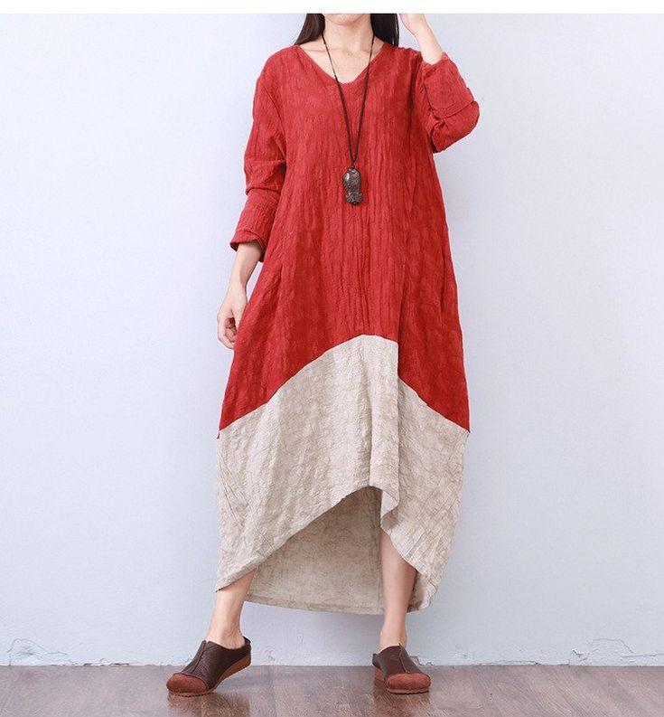 Women cotton linen loose fitting dress - One size ( US8-14)