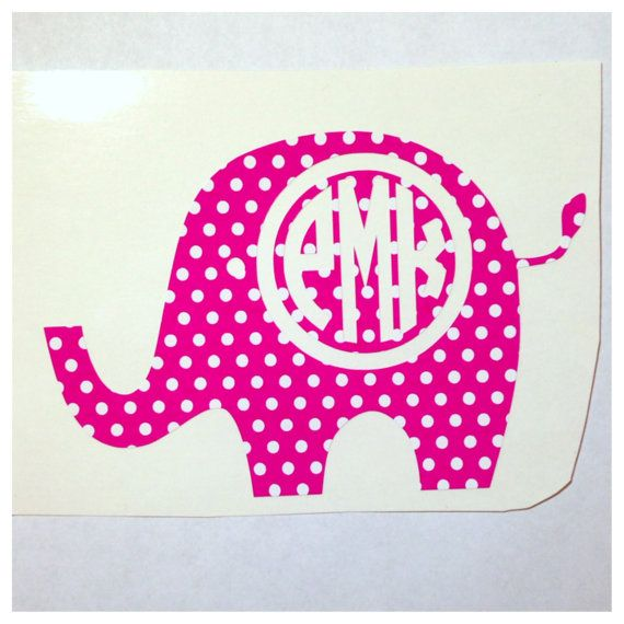 Monogrammed Elephant Decal - Personalized 5 in x 3.5 in Sticker - Cute Custom Decal for Car on Etsy, $7.25