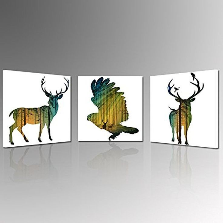 [Framed] Abstract Animal Bird & Deer Nature Canvas Art Print Picture Wall Decor #HelloArtwork #Abstract