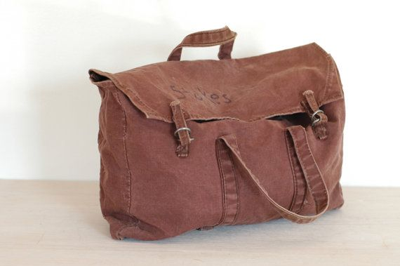 Vintage Military Faded Red Canvas Bag by bonnbonn on Etsy