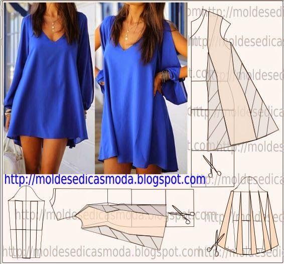 TRANSFORMAÇÃO MOLDE DE VESTIDO Desenhe o molde base, manga, frente e costas. Desenhe a altura do vestido nas frentes e costas. Prolongue uma linha nas pinç