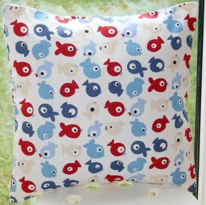 Fish Cushion Cover  Ocean Theme Nursery by LittleCottonShop, €12.00