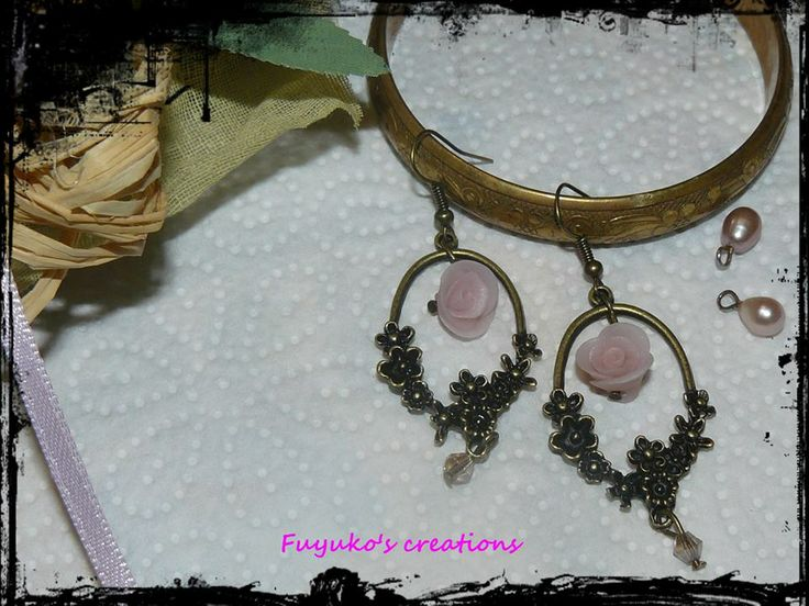 romantic earring -polymer clay-