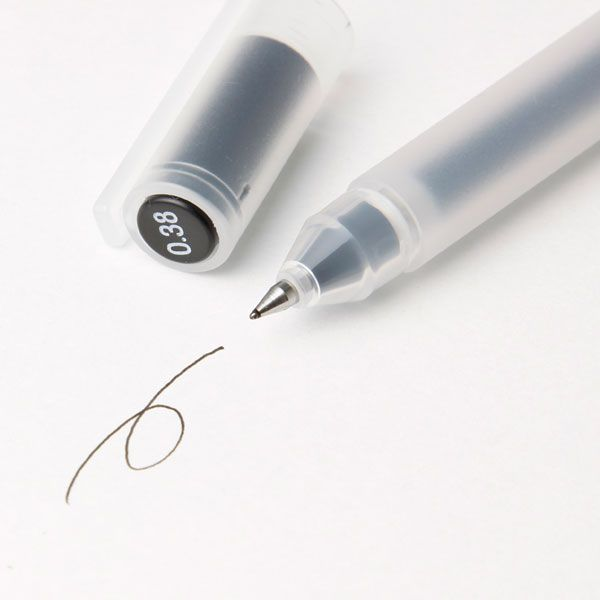 muji 0.38 black gel ink pen - simply perfect.    I've got between 5 and 10 of it all over my home, bags, etc. (plus some refills ready to go). I cannot imagine writting with another pen...