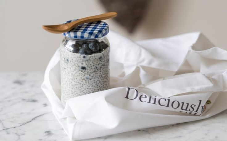 There's no excuse for that sugar-filled bowl of cereal any more, says Ella   Woodward. Make this pudding the night before, store it in a jam jar and   throw it in your bag to eat at work