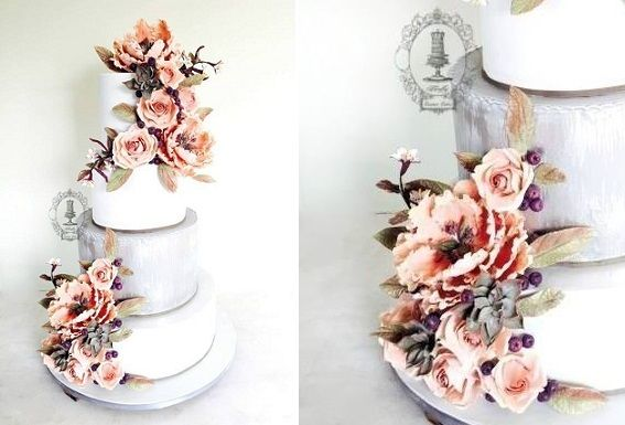 floral autumn wedding cake for fall by Firefly India