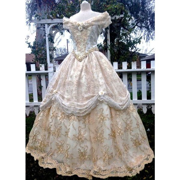 Beauty and the Beast New Style Belle Wedding Gown Ivory/Gold Custom ($1,250) ❤ liked on Polyvore featuring dresses, gowns, lace up corset, bridal slip, corset gown, bridal gowns and gold ball gowns