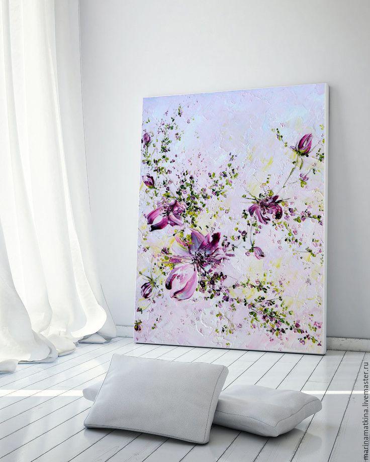 Купить Розовая картина маслом Нежная красные розы букет с цветами Репродукция