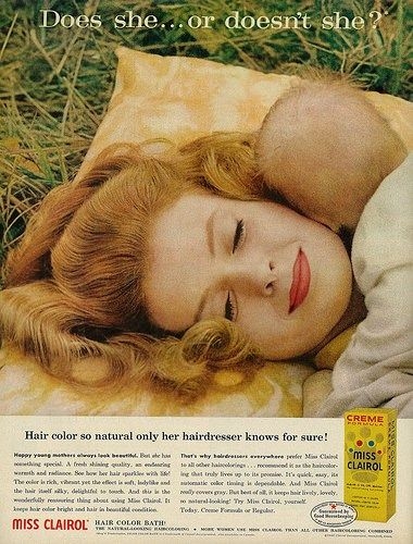 """How To Stop Your New Hair Color From Fading Away  1961 Beauty Ad Miss Clairol Hair Color Bath Young Mother & Baby Napping in Grass Iconic tagline: """"Does she or doesnt she? Hair color so natural only her hairdresser knows for sure!""""  Received Good Housekeeping seal of approval  Published in Life magazine April 14 1961 Vol. 50 No. 15  Fair use/no known copyright. If you use this photo please provide attribution credit; not for commercial use (see Creative Commons license).  How To Stop Your…"""