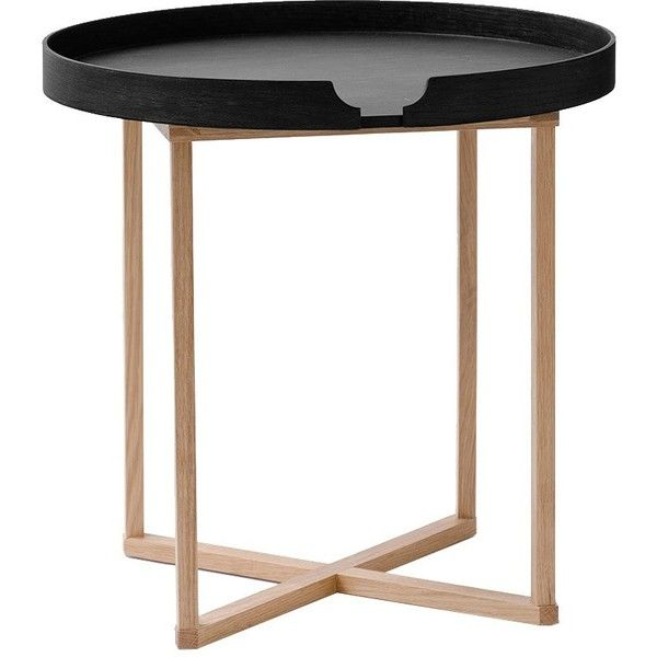 Wireworks Damien Side Table   Round   Black/Oak ($190) ❤ Liked On