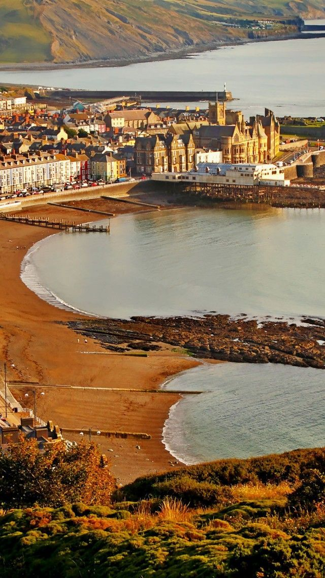 An aerial view of the historic market town of Aberystwyth in Ceredigion, West Wales.