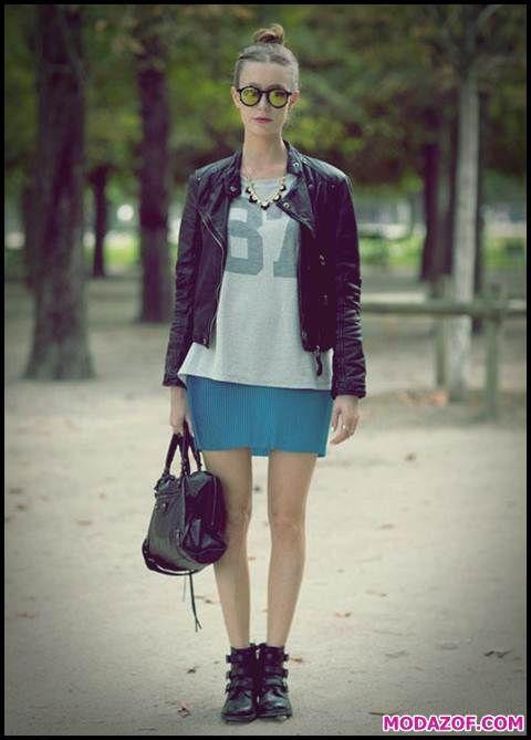 Bayan Siyah Deri Ceket Kombini