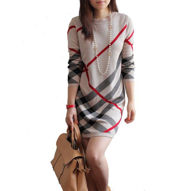 Novo 2016 As Mulheres se vestem de Outono e inverno de lã das mulheres de malha grande tamanho da longo-luva stripe one-piece quente suéter de lã vestido