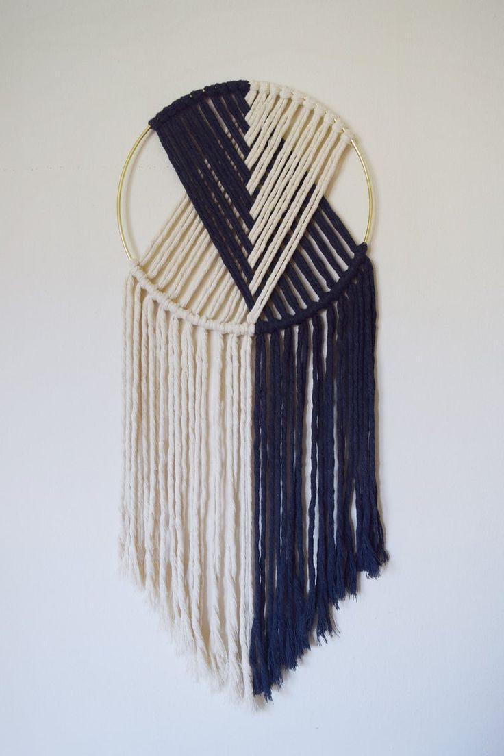 Download The Duo // Macramé Wall Hanging on Gold Hoop with Custom Color / Indigo Blue / Modern Dream ...