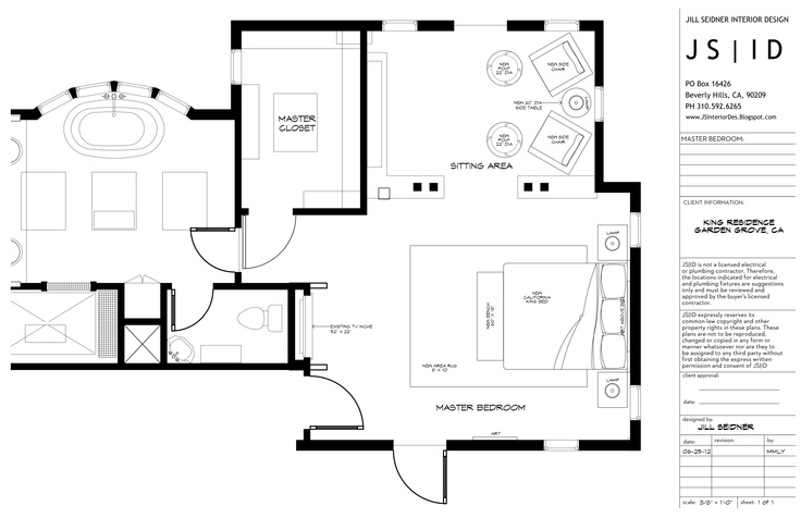 Garden Grove, CA Residence, Master Bedroom Furniture Floor Plan Layout, CAD By Morgan Lund For