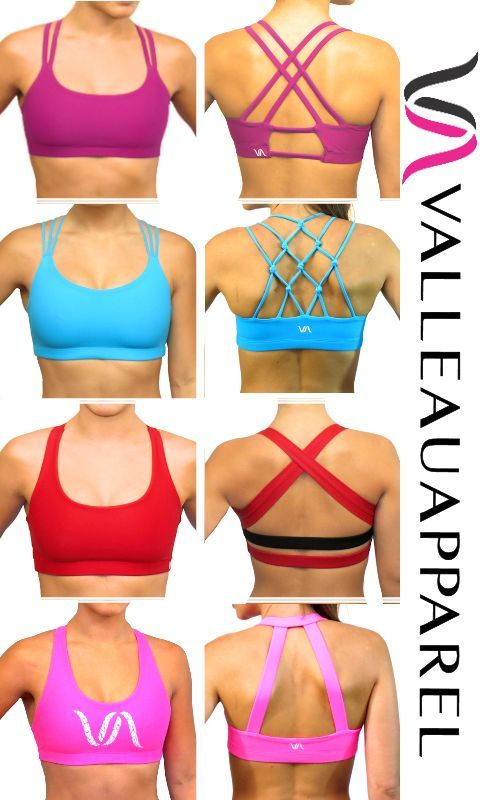 Valleau Apparel Sports Bra Collection. Cute sports bras for the perfect workout outfit!