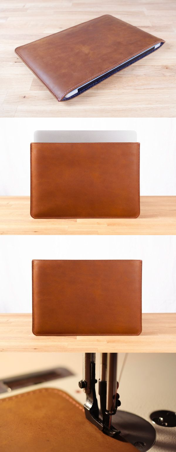 Handmade leather sleeve for the MacBook Pro in Brown. Made from high quality Top-Grain Cowhide leather, and lined with Wool Felt.