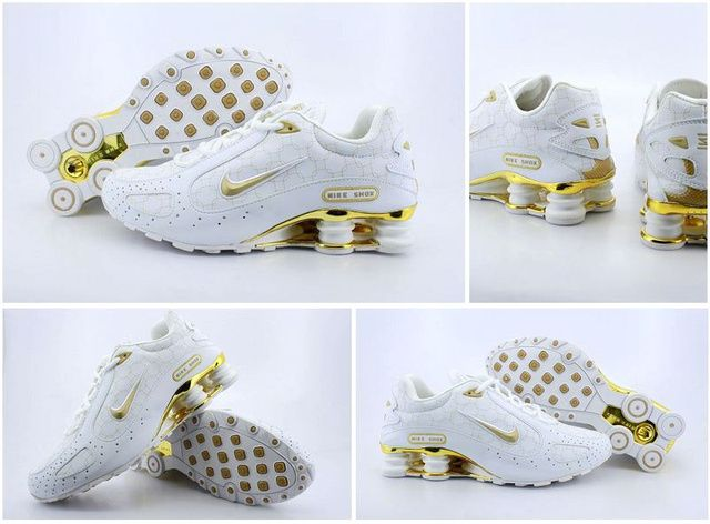 Man Vit Golden Nike Shox Monster Skor 60762 Rea