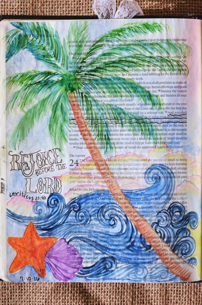 Leviticus 23:40, July 10, 2016, carol@belleauway.com, Neocolor II, white Uniball Signo gel pen, Illustrated Faith pen, bible art journaling, bible journaling, illustrated faith